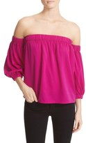 Milly Stretch Silk Off the Shoulder Top