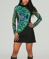 Aller Simplement Black & Teal Arabesque Cowl Neck Dress