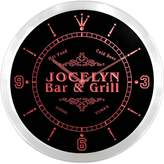 AdvPro Clock ncu22179-r JOCELYN Family Name Bar & Grill Cold Beer Neon Sign LED Wall Clock