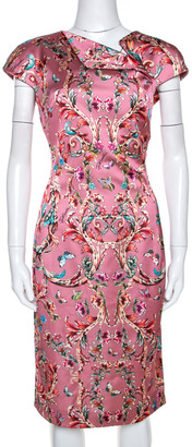 Just Cavalli Pink Baroque Print Satin Sheath Dress M