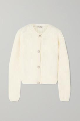 Miu Miu Cropped Crystal-embellished Ribbed Cashmere Cardigan - Ivory