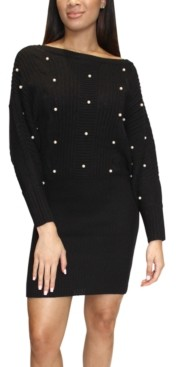 Almost Famous Juniors' Imitation-Pearl-Embellished Sweater Dress