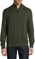 Nautica Ribbed Half Zip Stand Collar Sweater
