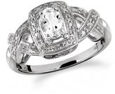 1/2 CT TW White Topaz Silver Halo Ring with Diamond Accents by JewelonFire