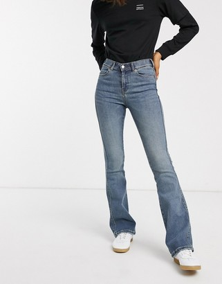 Dr. Denim high rise skinny fit flare jean authentic wash-Blue
