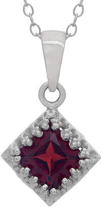 Fine Jewelry Womens Genuine Red Garnet Sterling Silver Pendant Necklace