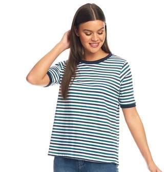 Brave Soul Womens Jane Scoop Neck T-Shirt Green/White/Navy Stripe