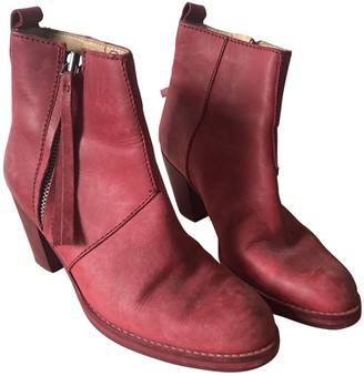 Acne Studios Pistol Red Leather Ankle boots