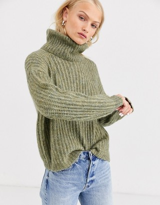 Only chunky rib roll neck knit-Grey