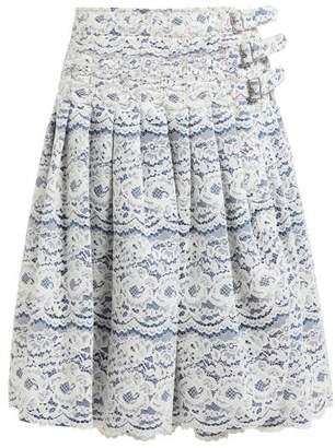 Junya Watanabe Rachelle Lace-overlay Denim Midi Skirt - Womens - White Multi