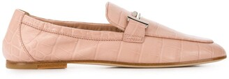 Tod's Crocodile-Printed Leather Loafers