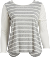 Paparazzi Oatmeal Stripe Slit-Back Tunic - Plus