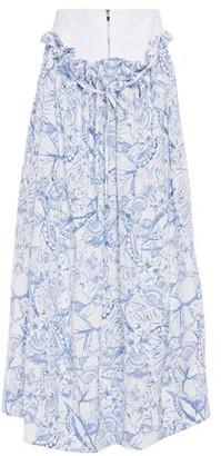 Tibi Canvas-paneled Gathered Printed Silk Crepe De Chine Midi Skirt