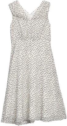 Maggy London Ruched Shoulder Clip Dot Print Midi Dress (Petite)