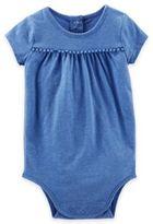 Osh Kosh Heathered Pom-Pom Trim Short Sleeve Bodysuit in Blue