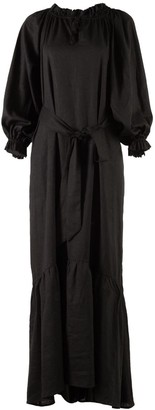 Nary Song Saa Maxi Black Linen Lounge Dress