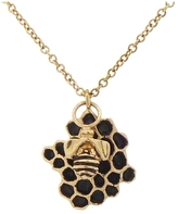 Jamie Joseph Large Artisan Black and Gold Honeycomb Necklace with Bee
