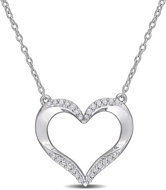 Delmar Sterling Silver Pave Diamond Accent Open Heart Pendant Necklace - 0.14 ctw