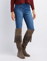 Charlotte Russe Faux Suede Studded Fringe Over-The-Knee Boots