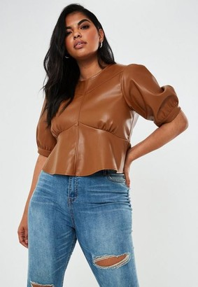 Missguided Size Tan Faux Leather Puff Sleeve Peplum Top