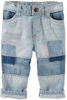 Osh Kosh Baby Boy Hickory-Striped Patchwork Jeans