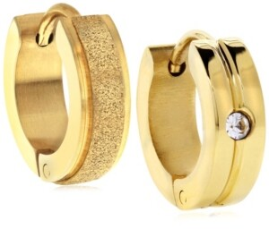 Sutton by Rhona Sutton Sutton Gold-Tone Stainless Steel Matte Glitter And Stone Huggie Earrings