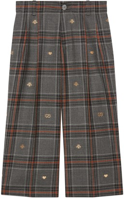 Gucci Children's Prince of Wales symbols trousers
