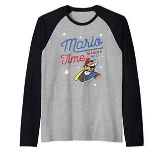 Nintendo Super Mario Time Mama Mia Quote Jump Raglan Baseball Tee