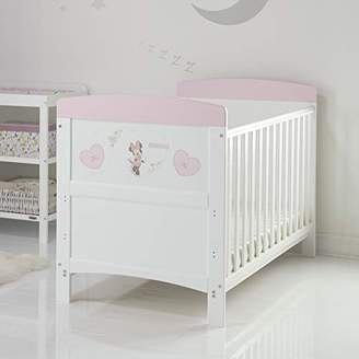 O Baby Disney Minnie Mouse Inspire Cot Bed and All Seasons Pocket Sprung Mattress - Hearts