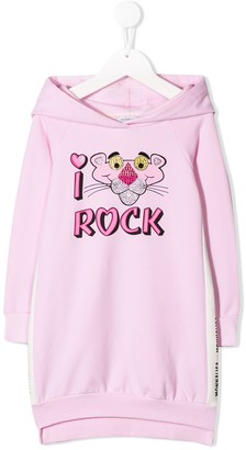 MonnaLisa I Love Rock print hoodie dress