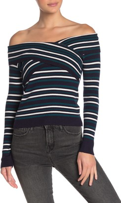 J.o.a. Striped Off-the-Shoulder Sweater