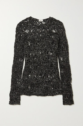 Saint Laurent Sequined Distressed Open-knit Sweater - Black