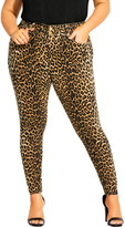 City Chic Asha Animal Print Skinny Jeans