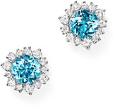Bloomingdale's Swiss Blue Topaz and Diamond Halo Stud Earrings in 14K White Gold - 100% Exclusive