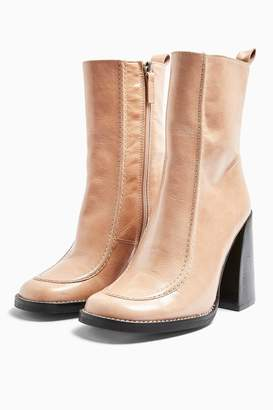 Topshop Womens Harvey Leather Square Toe Boots - Natural