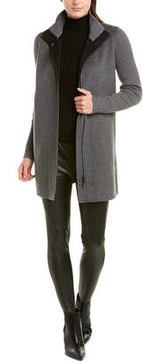 Forte Cashmere Mock Collar Wool & Cashmere-Blend Coat