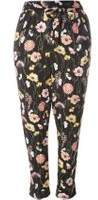 Dorothy Perkins Womens DP Curve Plus Size Black Tropical Print Tie Waist Joggers- Black
