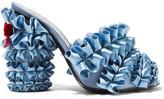 Marco De Vincenzo Velvet-trimmed Ruffled Satin Mules - Light blue