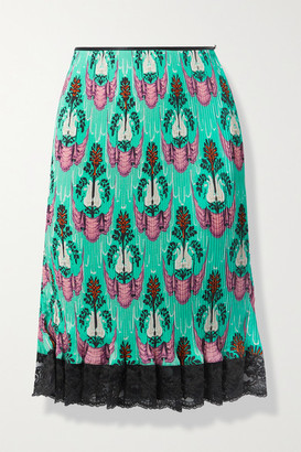 Paco Rabanne Lace-trimmed Printed Plisse-crepe De Chine Skirt