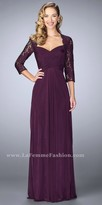 La Femme Three-quarter Sleeve Ruched A-line Evening Dress
