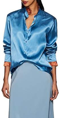 THE GIGI Women's Luna Ruffled Satin Blouse - Blue