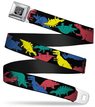 """Buckle Down Buckle-Down Seatbelt Belt - Dinosaurs Black/Multi Color - 1.5"""" Wide - 24-38 Inches in Length"""