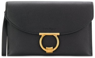 Salvatore Ferragamo logo buckle clutch bag