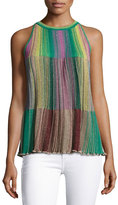 M Missoni Sleeveless Metallic Striped Plissé; Blouse, Multi