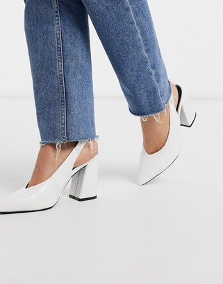 Miss Selfridge slingback heeled shoes in white
