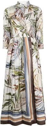 Sara Roka Leaf-Print Wrap Shirt Dress