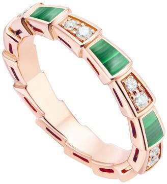 Bvlgari Rose Gold, Malachite and Diamonds Serpenti Viper Ring
