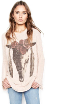 Lauren Moshi Esme Fringe Bell Sleeve Sweater in Champagne