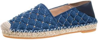 Valentino Blue Denim And Lether Rockstud Spike Fold-down Back Espadrilles Size 36