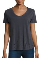 Monrow Distressed V-Neck T-Shirt